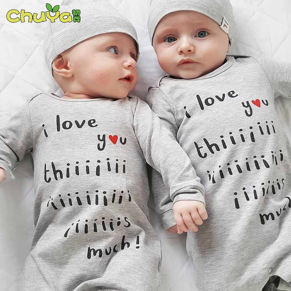 2018 Spring autumn fashion twins baby clothes letter printing rompers+hats baby girls/bo ...