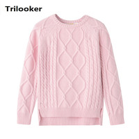 2 To 8 Years Kids Girls Autumn Winter Cable Knit Asymmetrical Front Short Back Long Casual