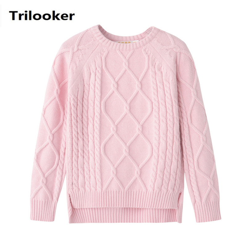 2 to 8 years kids girls autumn winter cable knit asymmetrical front short back long casual pullover sweater child pink sweaters twist back crop chunky knit sweater