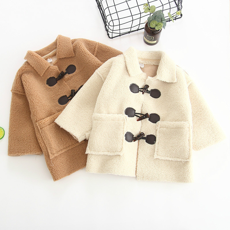 Spring Autumn Winter New Arrival Korean Version Solid Color Lamb Wool Warm Fashion Coat for Baby Girls Fashion Sheepskin Jacket sheepskin coat ad milano sheepskin coat