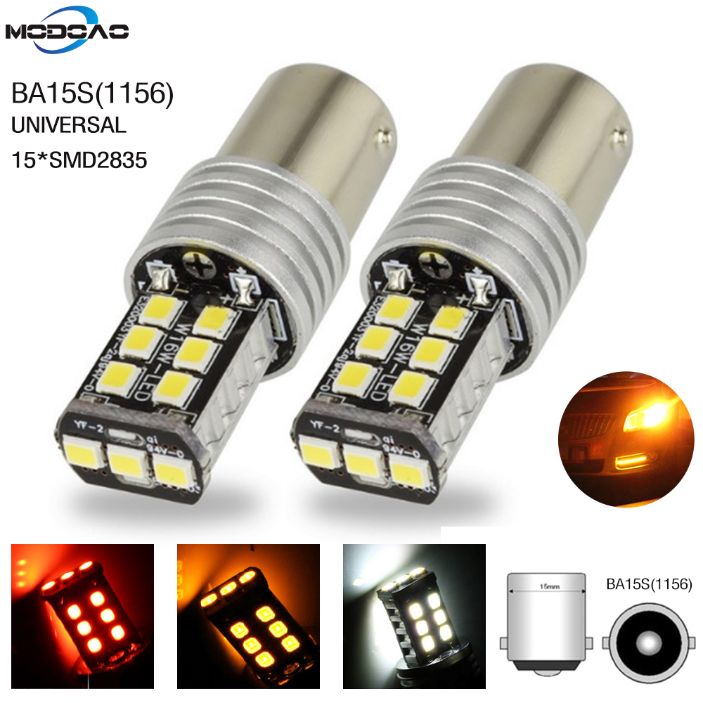 1 PCS High Quality <font><b>1156</b></font> BA15S <font><b>P21W</b></font> 15 SMD 2835 <font><b>Canbus</b></font> LED Auto Car Bulbs Indicator Turn Lights Parking Light DC 12V White Lamp image