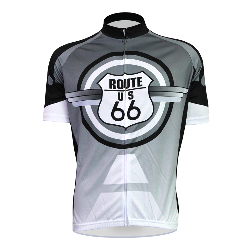 Aliensports Novelty Cycling Jersey Short Sleeve Route US 66 Funny Black Bike Sportswear Summer Anti-sweat Ropa Ciclismo - cycling jerseys' store