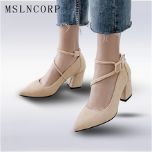 size 34-46 Pointed Toe women pumps fashion new woman comfortable square heels Sexy Gladiator Dress Cross tied Ankle Strap Shoes