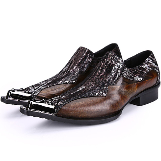 5fd15da9dbd High Quality Slip On Party Weddding Mens Shoes Sales Metal Toe Business  Sapato Masculino Social Patchwork Italian creepers