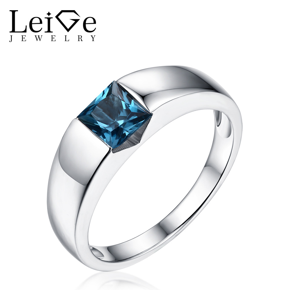 Leige Jewelry Solitaire Gemstone Ring Silver 925 Bezel Setting London Blue Topaz Rings for Women Wedding
