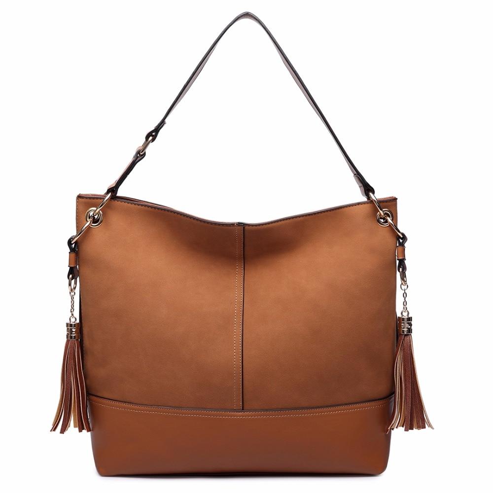 Miss Lulu Women Designer Luxury Frosted Leather Shoulder Bags Female Slouch  Hobo Tassel Handbag Tote Bolsa Feminina LT6616-in Shoulder Bags from  Luggage ... f80d73c0885f5