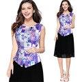 Elegante gasa de las mujeres más el tamaño de impresión sin mangas partchwork dress 2 unidades péndulo tramo flor dress trabajo