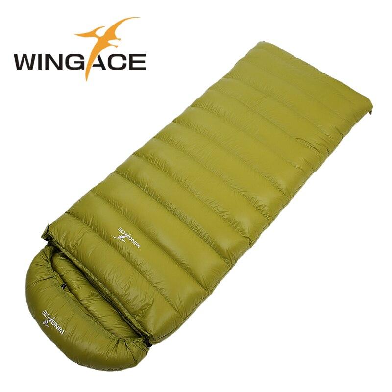 WINGACE Fill 1200G 1500G 1800G 2000G Goose Down Sleeping Bag Winter Envelope Outdoor Hiking Camping Sleeping Bag Adult