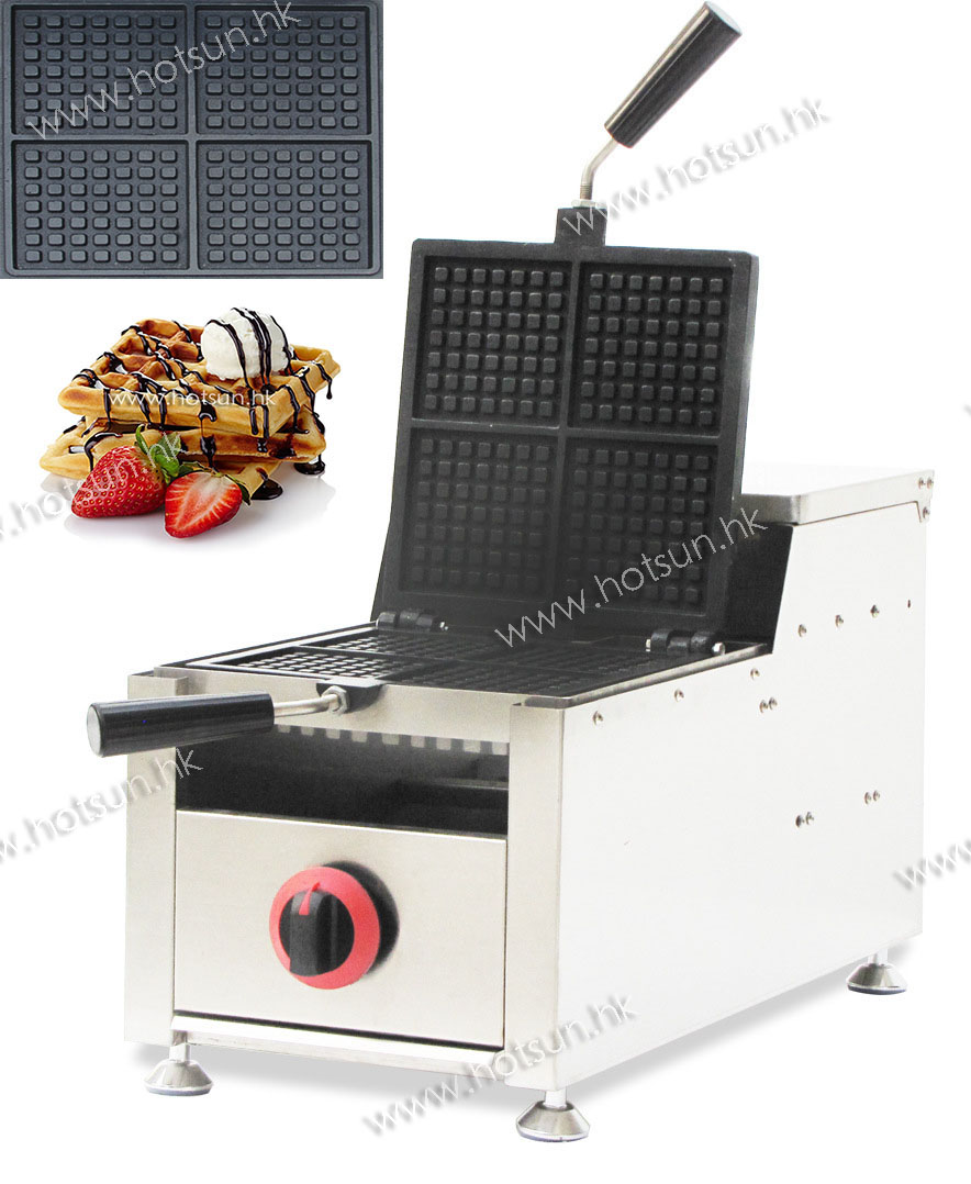 Commercial Non-stick LPG Gas Rotatable 4-slice  Belgian Brussels Waffle Iron Maker Machine Baker 6pcs commercial use non stick lpg gas korean egg bread gyeranbbang machine iron baker maker