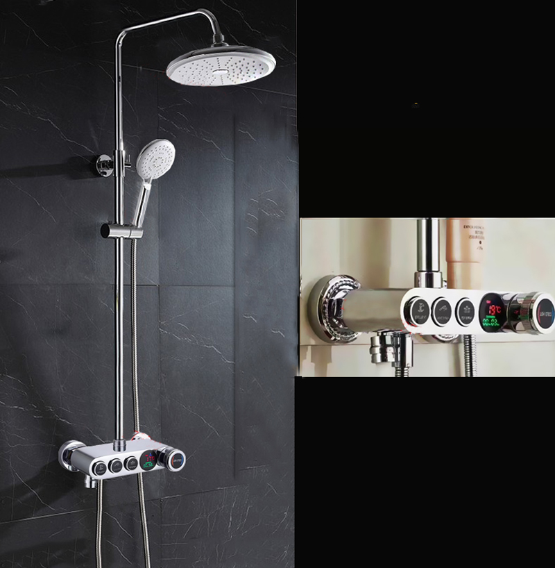 Comprar Digital ducha Set cromado 8 ''lluvia cabeza temperatura pantalla grifo monomando baño grifo de la ducha de Grifos de la ducha fiable proveedores en Shop3224150 Store