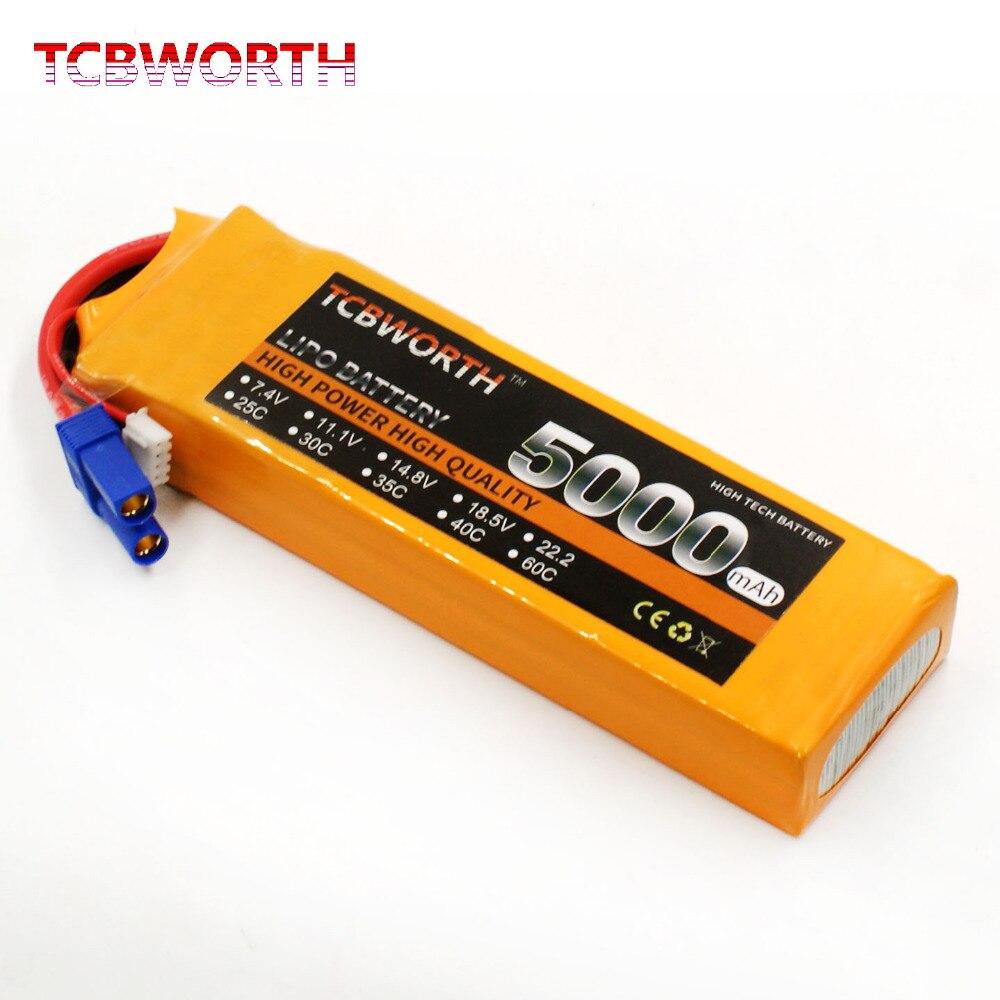 TCBWORTH 7.4 v 5000 mah 30C 2 s RC LiPo batterie Pour Avion Hélicoptère Quadrirotor