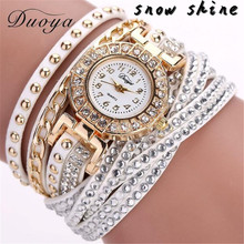 snowshine #10   Duoya Brand Watches Women Luxury Crystal Women Gold Bracelet Quartz Wristwatch Rhinestone  free shipping