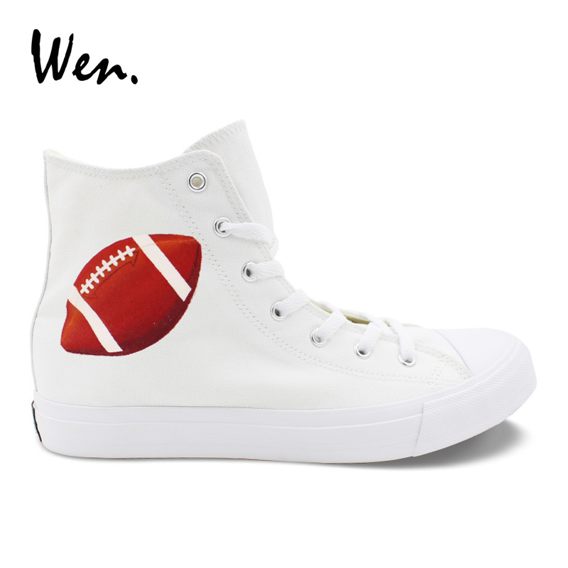 Wen Design Sneakers America Football Rugby Hand Painted Canvas Shoes Classic White High Top Women Men Vulcanized Shoes Plimsolls wen giraffe canvas shoes classic white hand painted animal sneakers sports high top skateboarding shoes for man woman