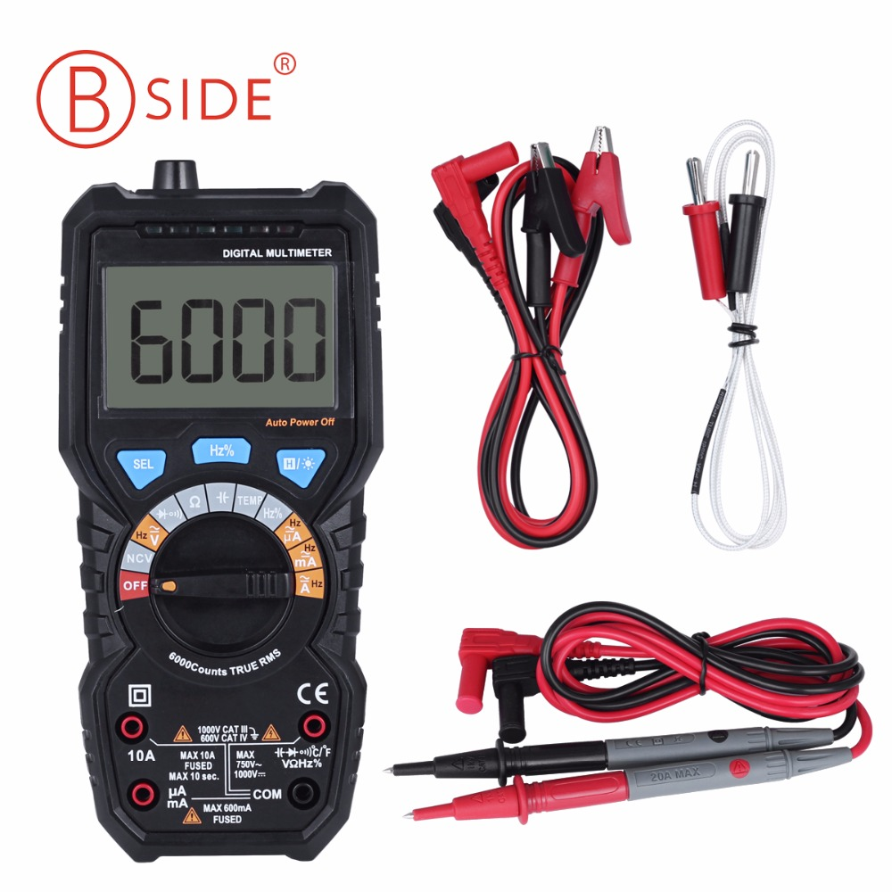 BSIDE ADM08D Ture RMS Digital Multimeter AC/DC Voltage Current Temperature Frequency Resistance Capacitance NCV tester PM18C uxcell digital multimeter ac voltage current resistance capacitance frequency temperature tester meter 600mv 6v 60v 600v 1000v