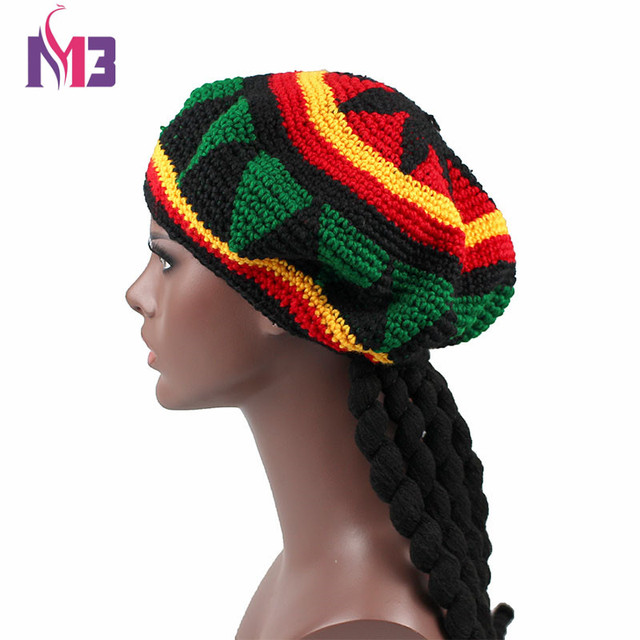 Nueva Casual hombres mujeres sombrero Rasta fiesta Hippie hecho a mano la  boina Dreadlocks peluca jamaicano e574b00389d