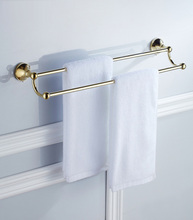 Towel Bars Double Rails Gold Color Brass Wall Shelves Towel Holder Bath Shelf Hanger Bathroom Accessories Towel Rack ZD874 free shipping copper towel racks double towel bar wall hanger bathroom accessories towel rails chrome cobbe t79282 60 70 80