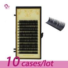 10pc 0.03 0.05 0.07mm 0.10mm 0.15mm B/C/D Curl Mink Eyelash Extension Thin and Soft Materail J&S Voluming lashes Tray Lash