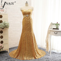 Vnaix E3120 Hot Sale Gold Mermaid Evening Dresses 2016 Sexy Sweetheart Floor Length Sweep Train Sequins