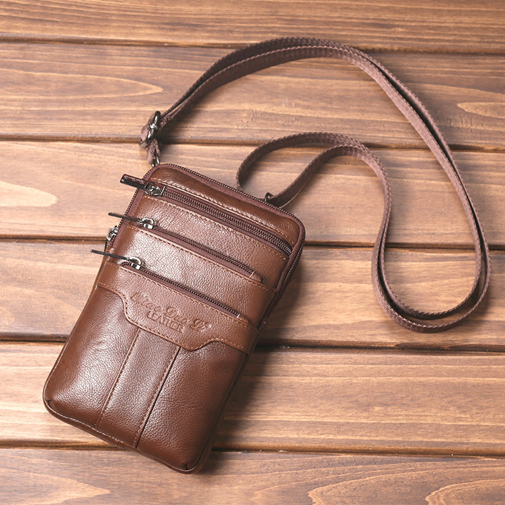 Genuine Leather Men's Belt Waist Bags Men Fanny Pack Travel Shoulder Crossbody Bags Male Messenger Bag Cell Phone Pouch