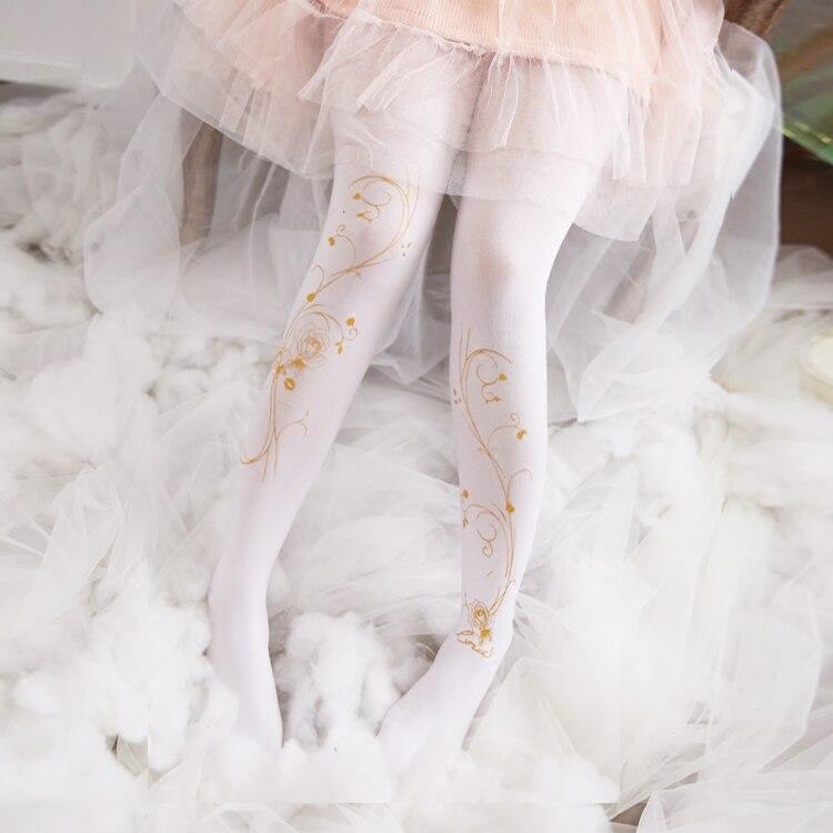Japanese Preppy Style Gilding Rose Pattern Legging kawaii Lolita Girls Warm Pantyhose Floral Silk Stockings New Leggings