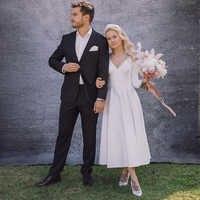 Vestido de casamento de comprimento de chá elegante com mangas compridas com decote em v cetim curto vestido de noiva branco marfim personalizado novo
