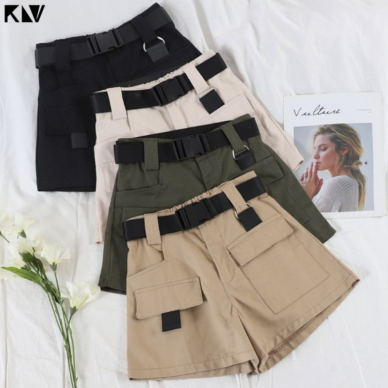 Women Summer High Waist Mini Cargo Shorts Quick Release Buckle Belt Casual Wide Leg Loose Shorts With Pockets Hip Hop Streetwear