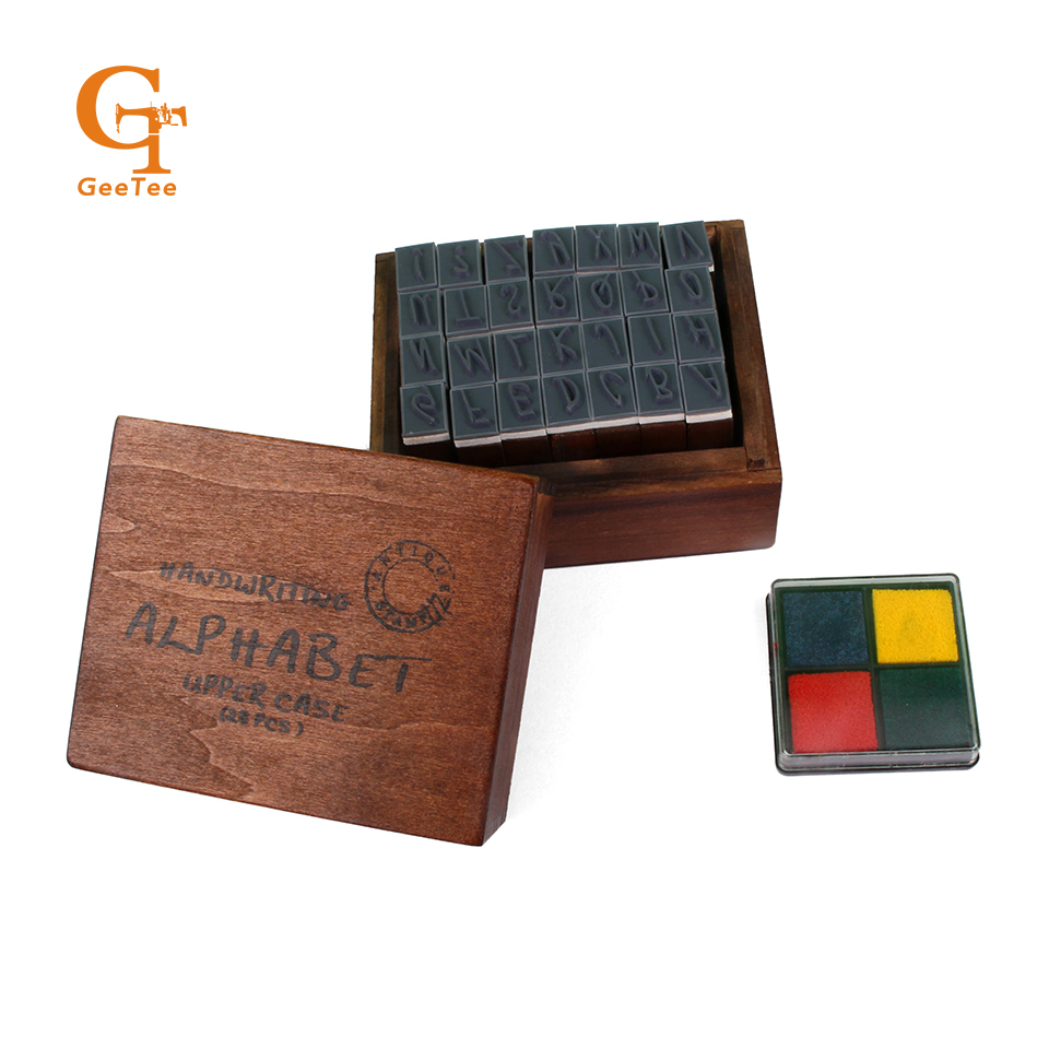Lower / Upper case Letter Alphabet Stamp Box Hand Writing Stamp Antique Wooden Rubber Stamp 28 characters with Inkpad case round stamp ink pad formal work finance name inkpad for rubber wooden metal stamp custom stamp