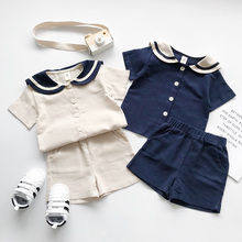 Kids sailor Suits Korean style Doll collar cotton linen clothes sets Summer boys girls short-sleeve T-shirt + shorts 2pcs suits
