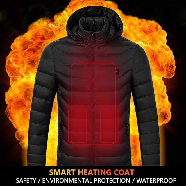 Special Offers RUELK Intelligent Heating Cotton Clothes Winter Jacket Men Warm Coat Fashion Casual Parka Medium Thickening Coat Men For Winter