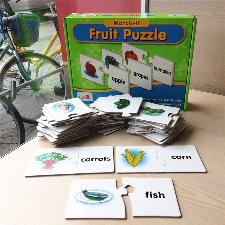 English fruit vegetable word learning card paper jigsaw puzzle letter for children brain games toys kids free word sudoku puzzle