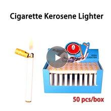 50 шт Мини компактная струйная Бутановая Зажигалка в форме металлической сигареты надувная газовая зажигалка сигаретное масло оптом(без газа