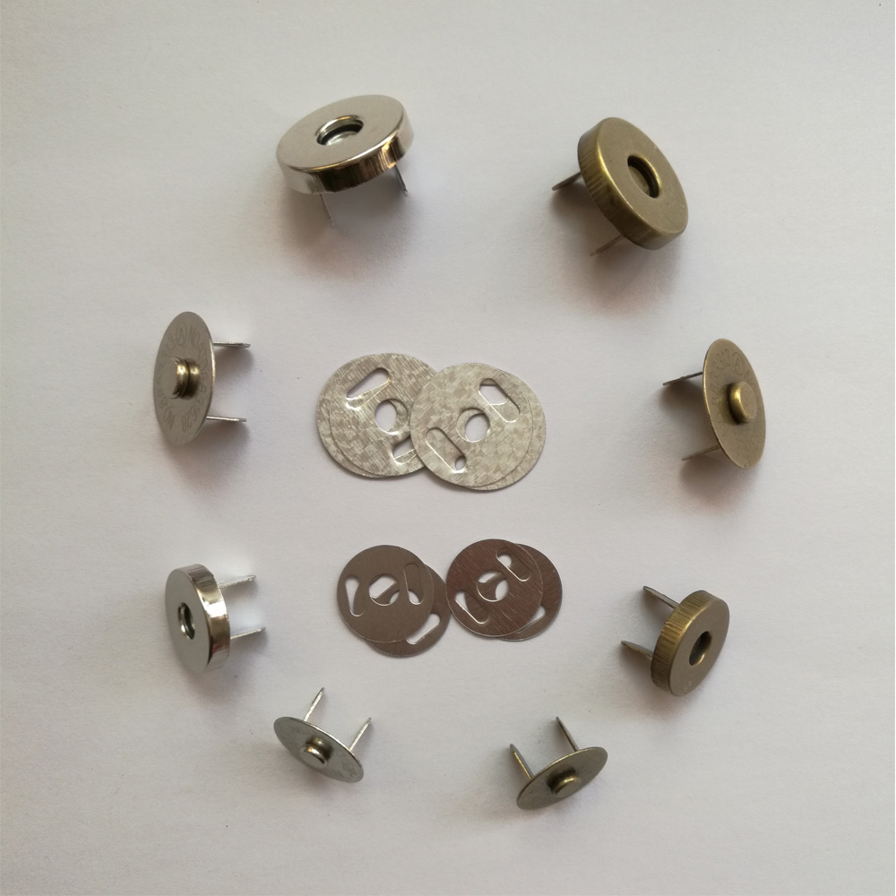 50 Sets Silver Tone Magnetic Purse Snap Clasps Button for Closure Purse Handbag Clothes Sewing Craft 14mm