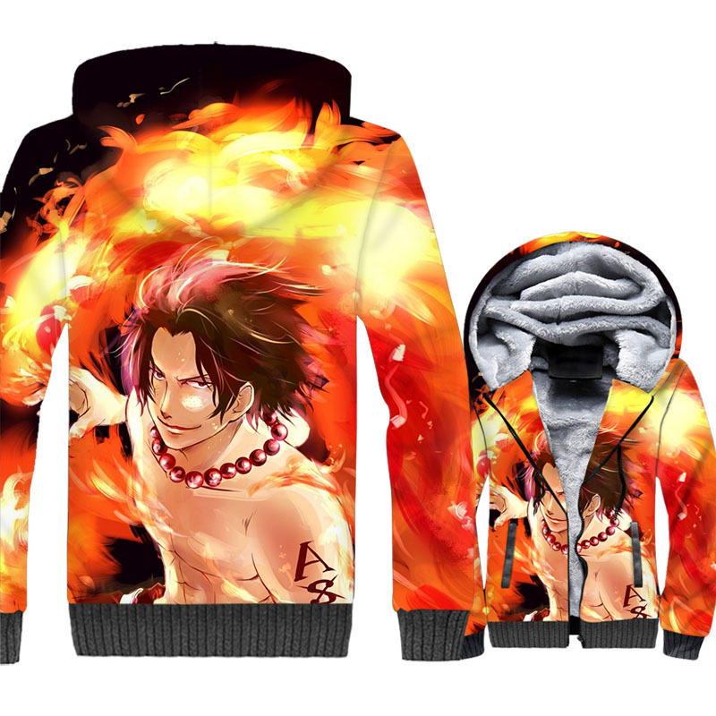 One Piece Fire Fist Ace Winter Thick Jacket Casual Sweatshirt Hoodie Coat