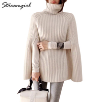 Poncho Women Sweaters 2018 Shrugs For Women Turtleneck Ponchos And Capes Warm Fashion Oversized Turtleneck Sweater Winter