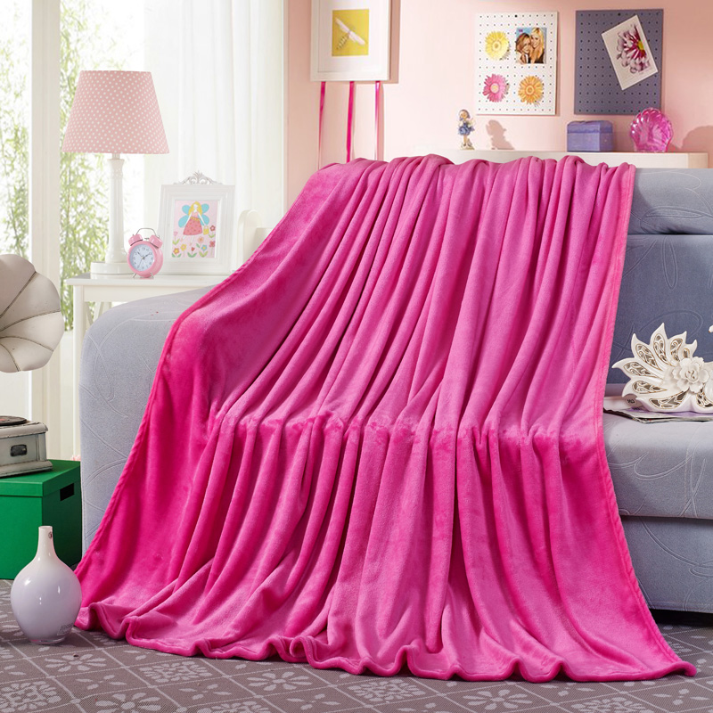 Cozzy hot pink plush fleece blanket flannel for bed sofa for Beds 120 x 200