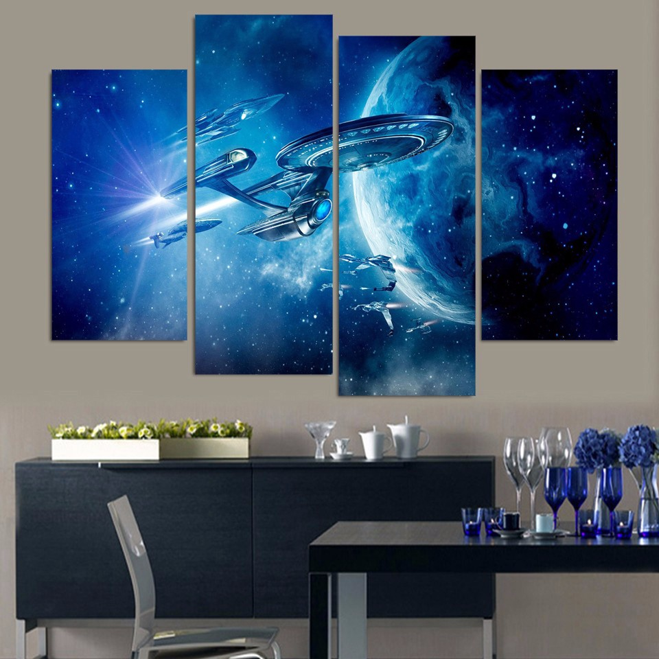 hot sale 4 panels of universe star wars oil paintings for