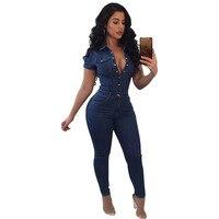 New Arrival Short Sleeve Jumpsuit Jeans Casual Bodysuit Women Button Denim Overalls Rompers Girls Pants Jeans Ladies