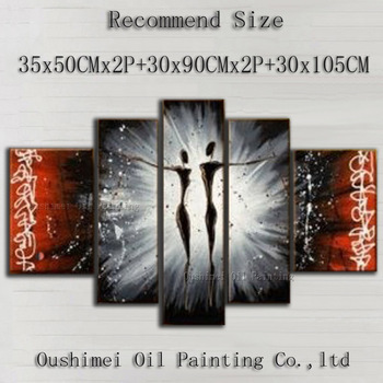 Artist Directly Supply High Quality Modern Abstract Dancer Oil Painting On Canvas Abstract Black Dancer Decorative Painting