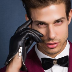 Highshine männer Echte Leder winter warme Handschuhe Schwarz Touch Screen Echt Schaffell Handschuhe ungefüttert seite zip mit Taste