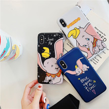 Simple Cartoon Flying Elephant Phone Case For iphone Xs MAX XR X 6 6s 7 8 plus Cute dumbo Candy Soft TPU back cover Capa