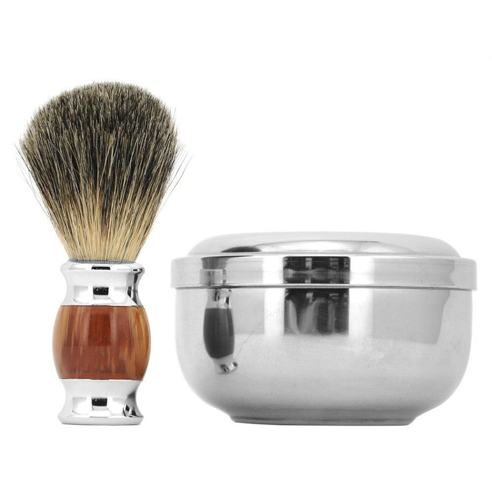ZY Barber 100% Pure Badger Hair Wet Shaving Beard Brush + Shaving Soap Mug Bowl Cup Men Shave Razor Kit 3