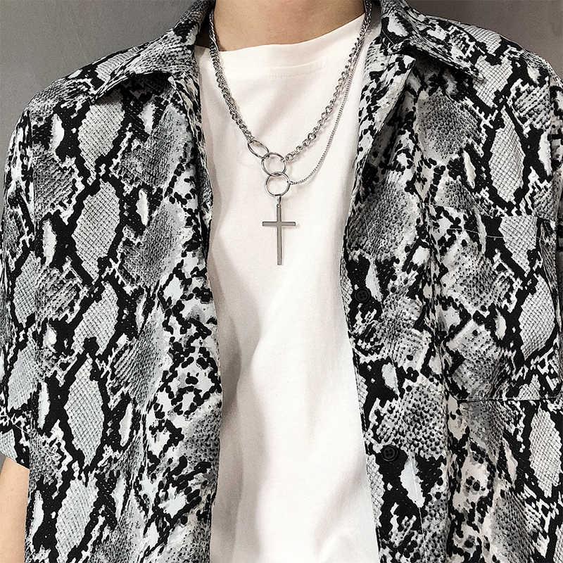 Łańcuch hiphop mężczyźni kobiety para naszyjnik ze stali nierdzewnej wodoodporny Link Curb naszyjnik łańcuszkowy hip hop biżuteria krzyż naszyjnik łańcuch