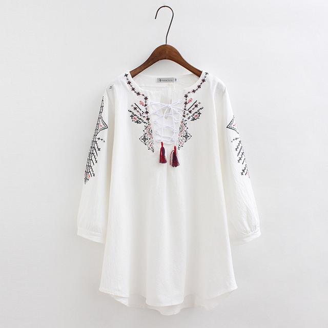 8ab8a5d23ef embroidery white blouse women cotton Linen tunic tops Beach summer blusas  casual blouse plus size women blouses blusa feminin