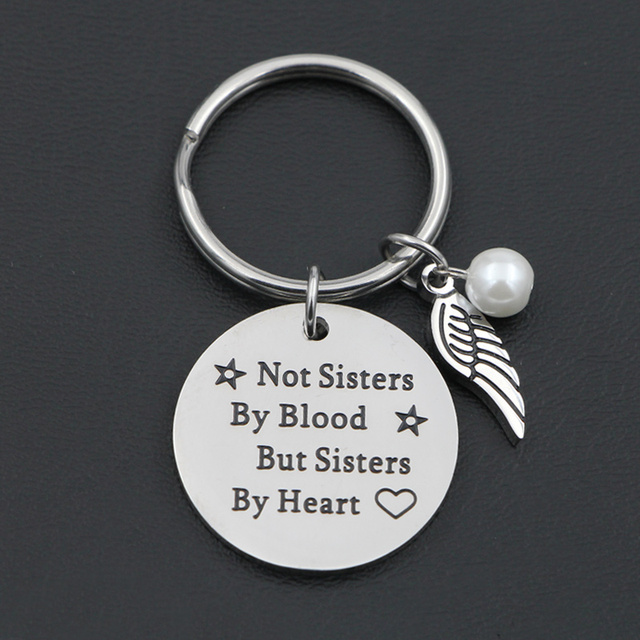"VILLWICE Best friends keychain keyring ""not sisters by blood but sisters by heart"" friendship jewelry gift for women girls 2"