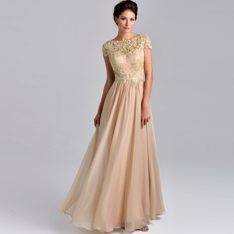 Hot sale Elegant Short Sleeves Long Mother of the Bride Dresses with Appliques Lace Plus Size