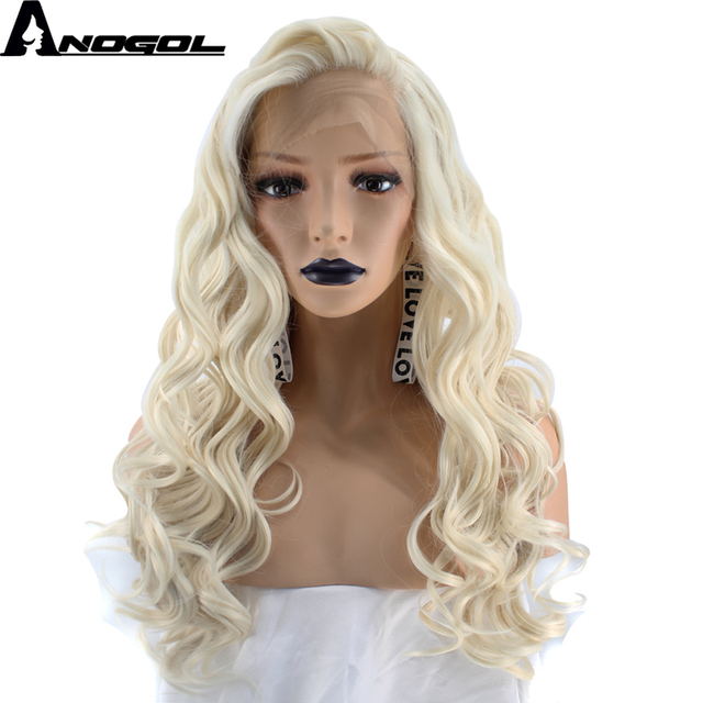 Anogol High Temperature Fiber Perruque 360 Frontal Platinum Blonde Long  Body Wave Synthetic Lace Front Wig For Women Cosplay 6d1eebc17f