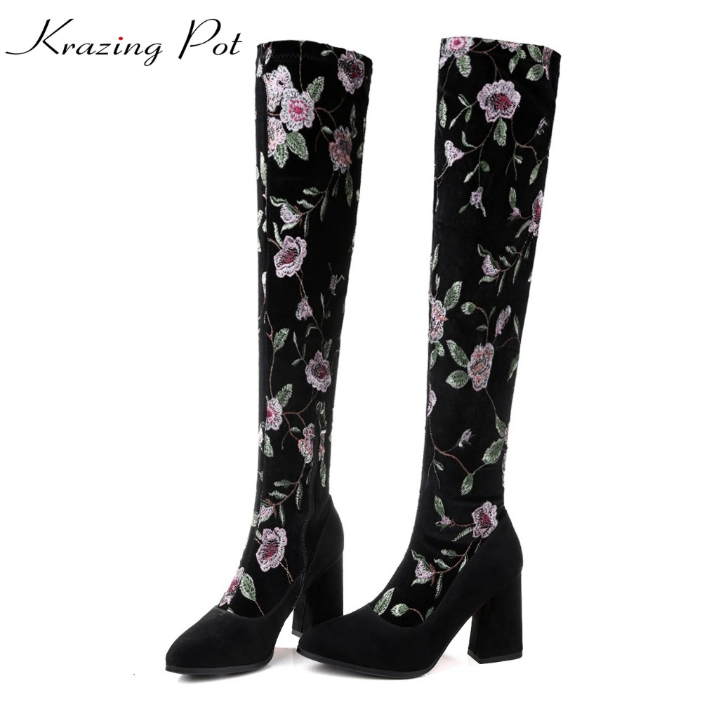 Krazing pot new vintage flowers embroidery decoration oriental luxury thick high heels pointed toe stretch knee high boots L73 idlamp светильник потолочный 818 8pf whitechrome page 3