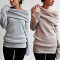Mujeres Sexy Hombro Off Casual Rollo de Cuello de Manga Larga de Punto Jumper Sweater Top smt 87