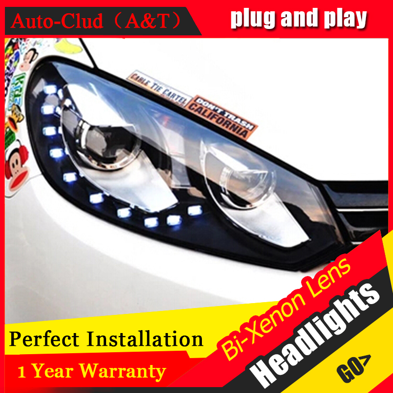 Auto Clud For vw golf 6 headlights 2009-2013 bi xenon lens For vw GOLF MK6 head lamps H7 parking LED tear light DRL car styling for vw golf 4 5 6 7 gti city canbus h7 led headlights bulb plug and play cob led car headlights auto fog lamps h7 headlamp