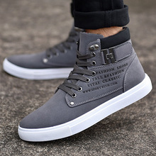 Lace-up Help Style Man Casual Shoes Spring Autumn Fashion Trend Top Keep Warm Cotton High Canvas Sneakers